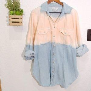 Vintage denim bleached dyed denim shirt jacket